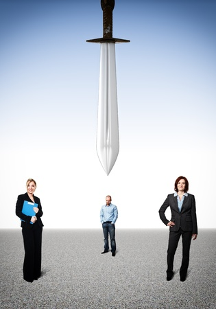 business people and big sword photo