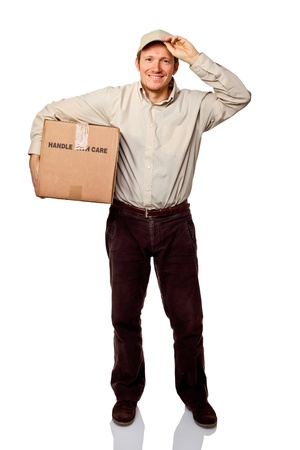 portrait of smiling delivery man on white Stock Photo
