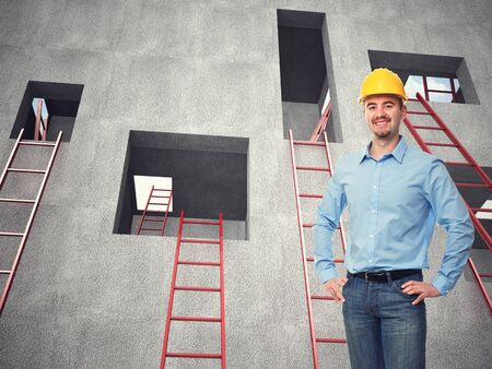 arhitect: smiling engineer and 3d background Stock Photo