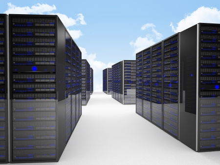 3d image of datacenter and blue sky Stock Photo - 13743558
