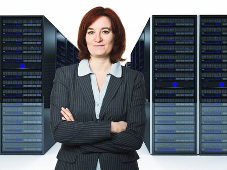 confident businesswoman in datacenter 3d photo