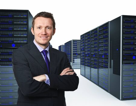 server rack: confident man crossed arms and server 3d