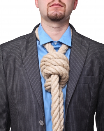 portrait of man with loop tie on white photo