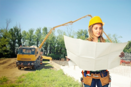 contruction: woman worker at construction place