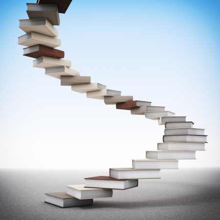up stair: 3d image of book stair illustration