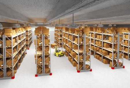 warehouse interior: 3d immagine di magazzino classica Archivio Fotografico