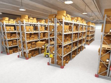 warehouse interior: immagine classica di magazzino e carrelli elevatori