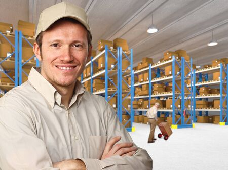 smiling worker in warehouse work place photo