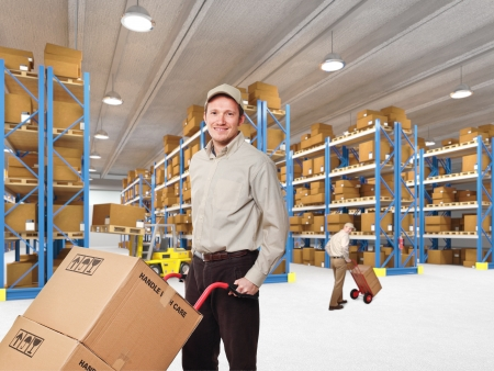 distribution box: delivery man in classic warehouse