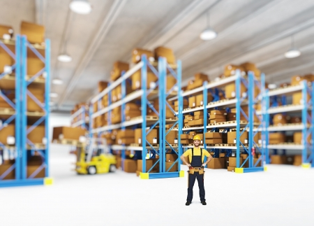 delivery man in classic warehouse Stock Photo - 13885046