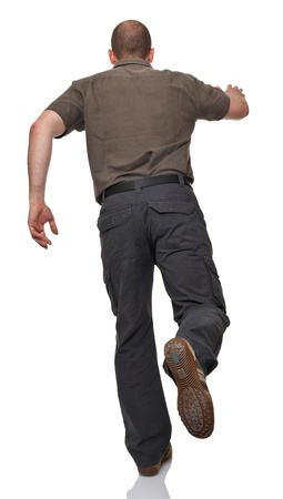 casual man: running man rear view on white Stock Photo