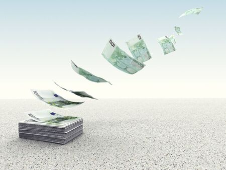 waste money: 3d image of money fly in the sky