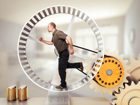man run on hamster wheel photo