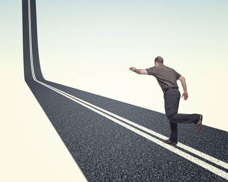 proble: man run on 3d asphalt way