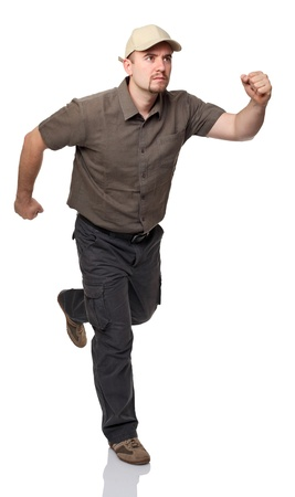 haste: caucasian man with cup in running pose isolated