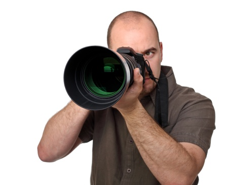 reflex: portrait of man with camera isolated on white