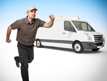 delivery man in running pose truck background photo