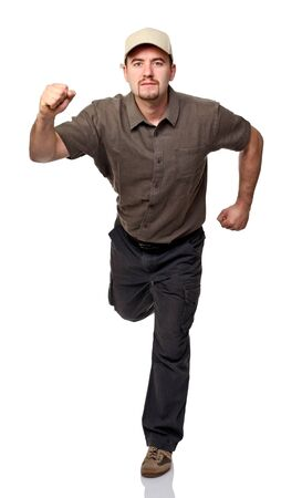 confident worker in running pose isolated on white Stock Photo - 14197331