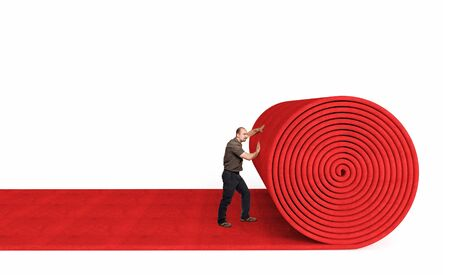 man roll red 3d carpet on white background photo