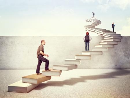 escalera: la gente en la escalera libros 3d cruzar el muro