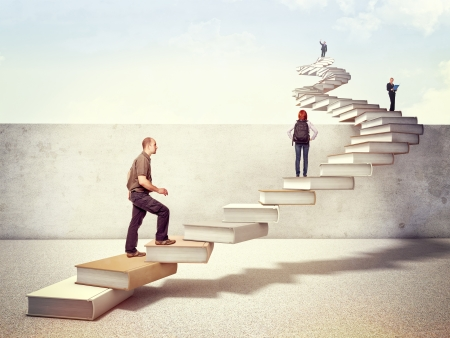 successful student: people on 3d books stair cross the wall