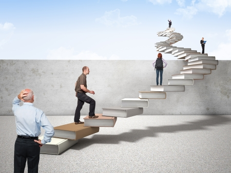 3d book stair and different people on it photo
