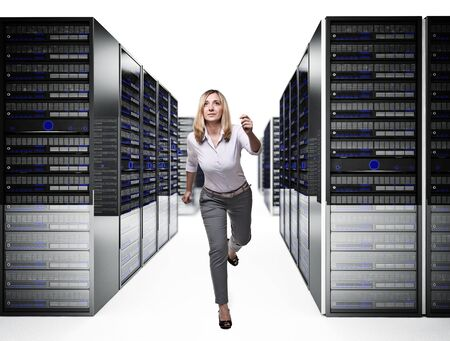 running woman in 3d data center photo