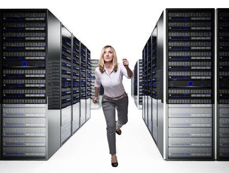running woman in 3d data center Stock Photo - 14741721