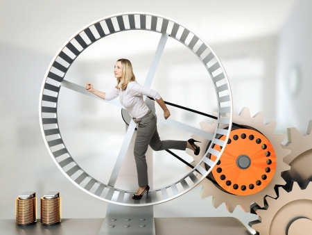 running woman on 3d hamster wheel Stock Photo - 14741683