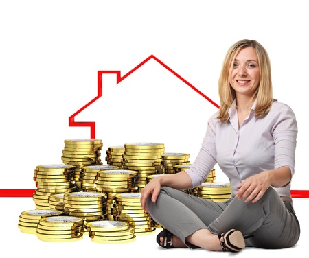 sit smiling woman with 3d coin and house concept photo