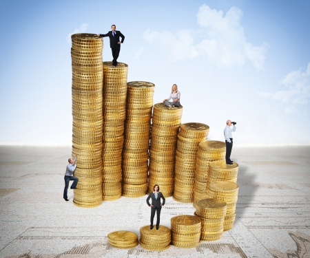 win money: euro coin piles and business people