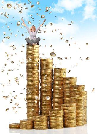donna ricca: donna felice e la pioggia delle monete in euro