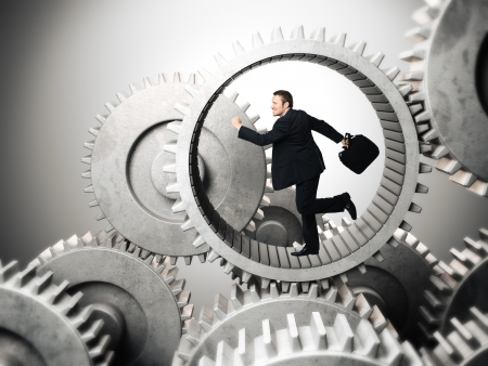 slave: businessman running inside of metal gear