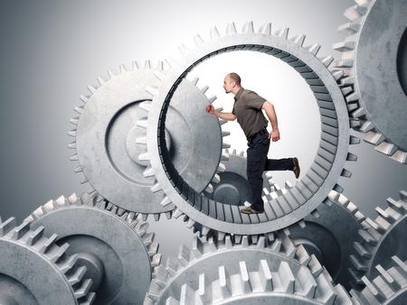 caucasian man run inside metal gear