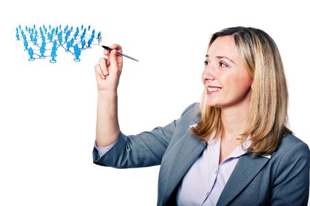 active adult community: smiling woman with pen and 3d community