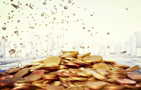 euro coins: closeup on 3d euro coin and stat background Stock Photo