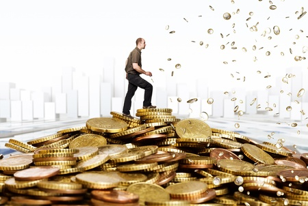 money rain: caucasian man and euro coin background