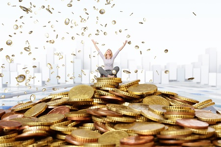happy rich woman: smiling woman and euro coin rain