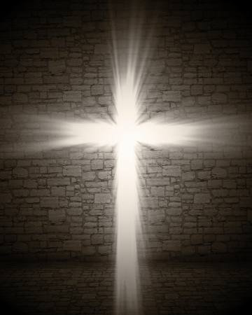 holy god: 3d image of cross light Stock Photo