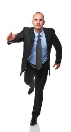 businessman running: running man isolated on white background Stock Photo