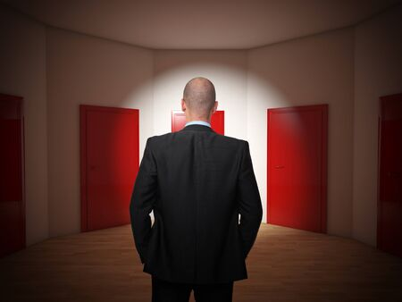 choise: businessman and room with closed red doors