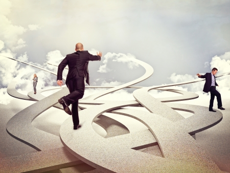 people in business: business people on 3d abstract way
