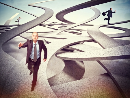 businesspeople running on 3d abstract way photo