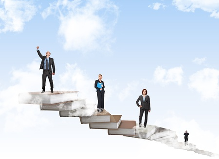 up stair: businesspeople on 3d book stair