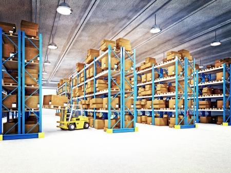 warehouse interior: bella immagine 3d del magazzino classico Archivio Fotografico