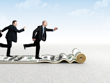 business men run on dollar 3d carpet photo