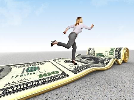 grow money: woman run on dollar carpet