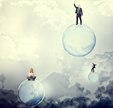 balance ball: people on 3d soap bubbles on sky