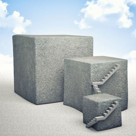 stone steps: 3d image of concrete cube and sky background Stock Photo