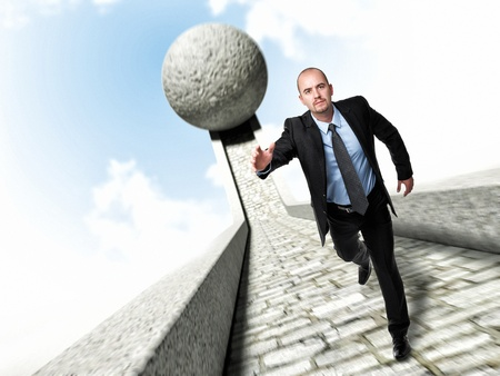 running businessman and huge 3d ball Stock Photo - 16128550